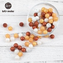 Anneau de dentition en Silicone doré et Perle   Accessoires diy, 40 pièces, 15mm, produits de dentition pour nourrissons, vente en gros