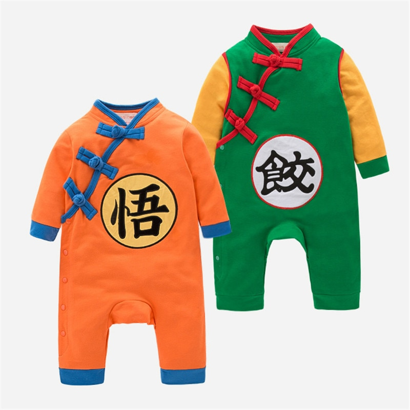 Ropa de bebé de Dragon Ball para recién nacidos Son Goku, peleles de dibujos animados de Anime, manga larga, monos para niños pequeños, traje de otoño