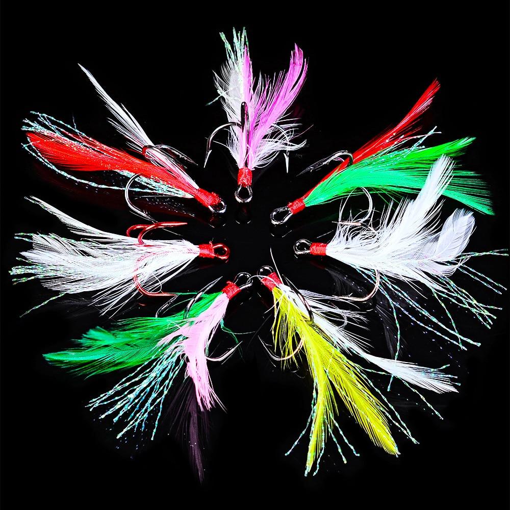 20pcs/box Treble Fishing Hooks Carbon Steel Barbed Colorful Feather Fishhooks Super Sharp Triple Hooks Sea Tackle Accessories
