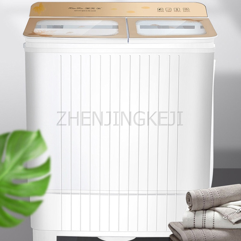 Lavadora pequeña de 6,8 KG para uso doméstico, 220V/360W, doble cilindro, apertura superior semiautomática con lavadora de deshidratación, herramientas de lavandería