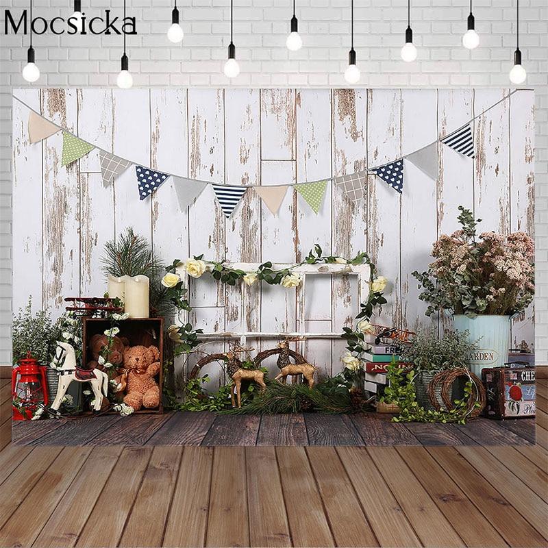 Mocsicka Spring Wooden Door Photography Background Newborn Child Portrait Photo Birthday Party Backdrop Decoration Props Studio enlarge