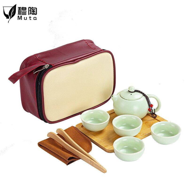 طقم شاي للسفر ، حقيبة محمولة ، فن شاي الكونغفو الحجري ، وعاء واحد ، ثلاثة أكواب ، كوب ضيف سريع على الطراز الياباني ، شعار مخصص زجاجي