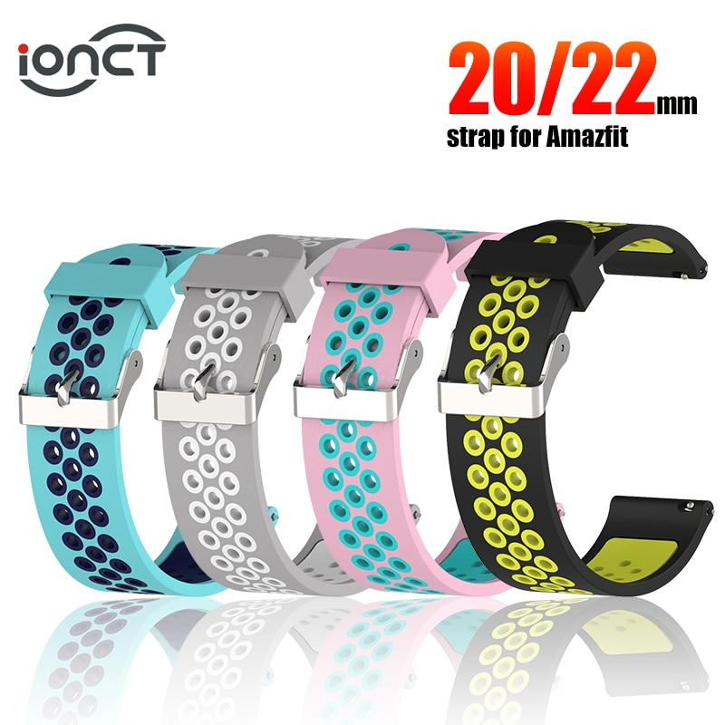 IONCT brazalete de silicona deportivo para Huami Amazfit Bip Correa correa para xiaomi Amazfit ritmo Stratos 2 GTS GTR 47MM