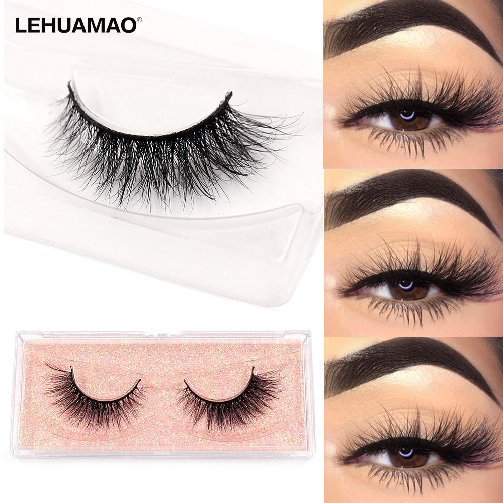 LEHUAMAO Fluffy Mink Lashes Short Wispy Natural Eyelashes 15mm-18mm Hamdmade Real 3D Mink Eyelashes Makeup False Lashes недорого
