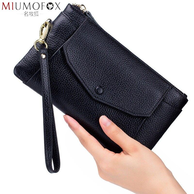 Fashion Women Wallets Handbag Genuine Leather Pouch Ultra-thin Wristlet Clutch Lady Cash Phone Coin Purse Small Clutch Pouch