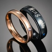 simple couple rings her king his queen crown charm letter zircon ring for women men exclusive couple wedding ring lover gift