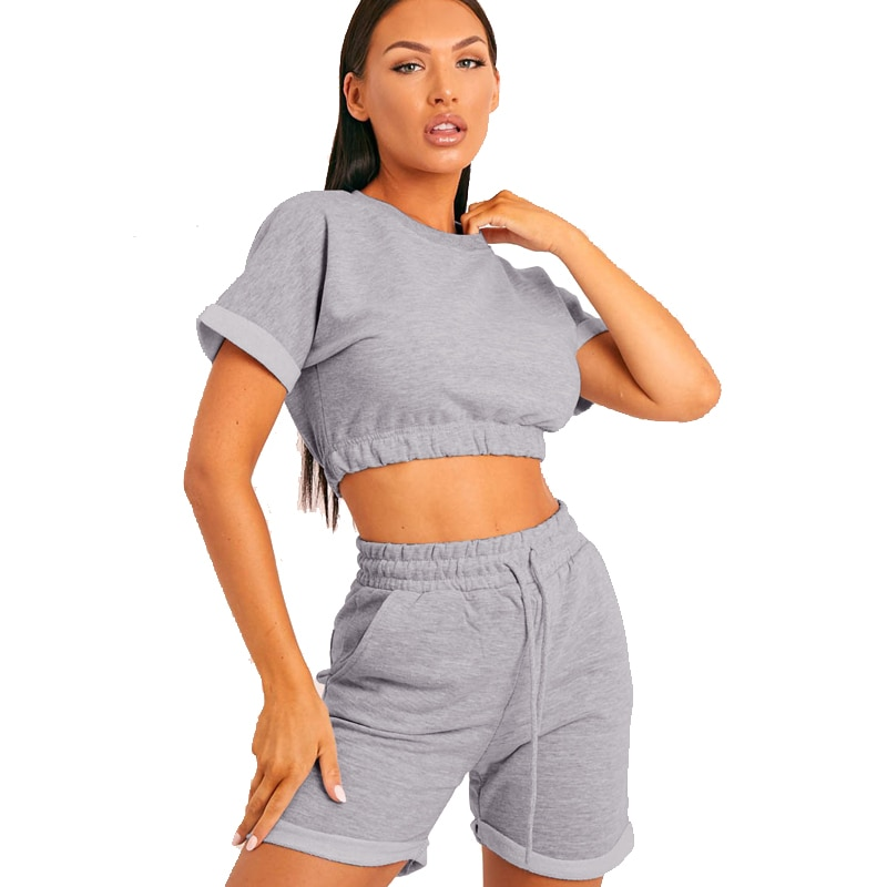 2021 Fashion Short Casual Round Neck Sportswear Ladies Summer Two-Piece Short-Sleeved Shorts Suit