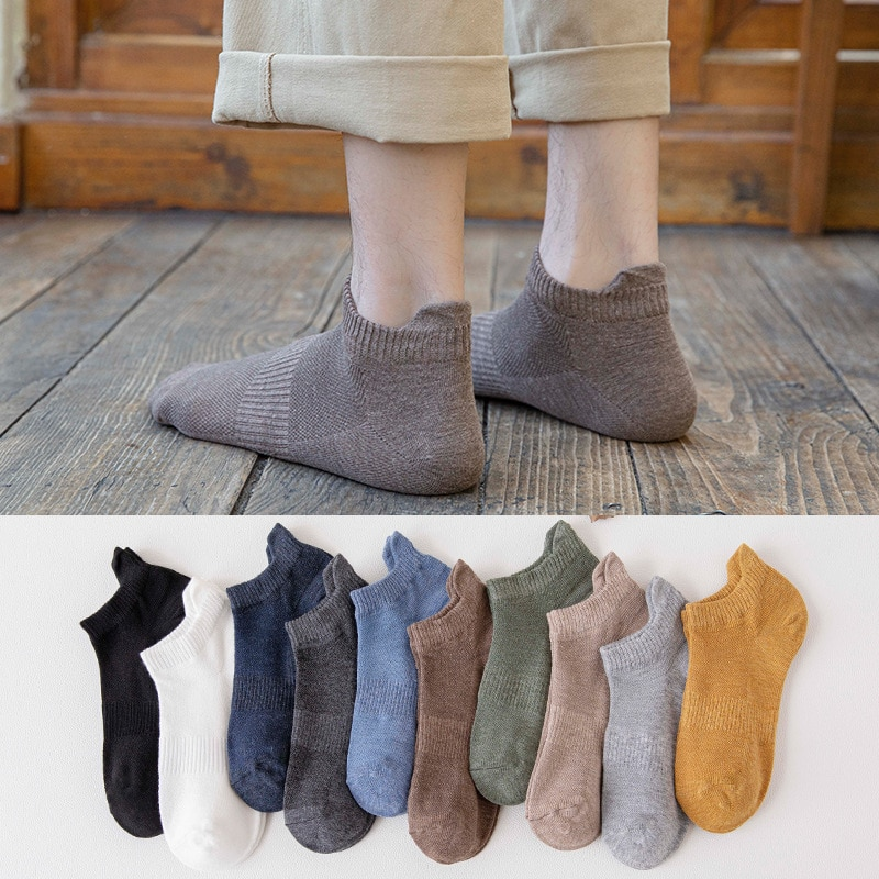New 10 Pairs Men Socks With Ear Lift Heel Sport Corset Cotton Boat Socks Spring And Summer Breathable Mesh Solid Color Adult Sox