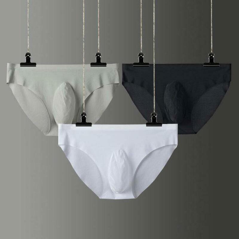 Men's Seamless Underwear Briefs Ice Silk Ultra-thin One-piece 3d Shorts Gay Underwear Ropa Pants Breathable Underwear Men Sexy