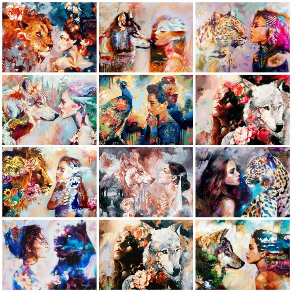 Картина AZQSD по номерам окраска волком по номерам Рисование животными по номерам для взрослых Arcylic картина маслом домашний Декор подарок
