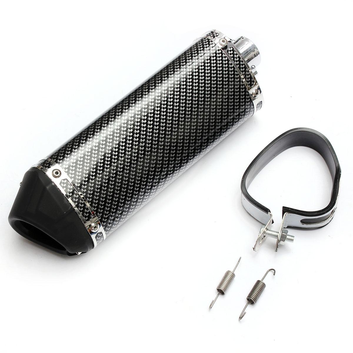 Cor da fibra de carbono 320mm tubo silenciador do escape da motocicleta com silenciador móvel universal para honda yamaha