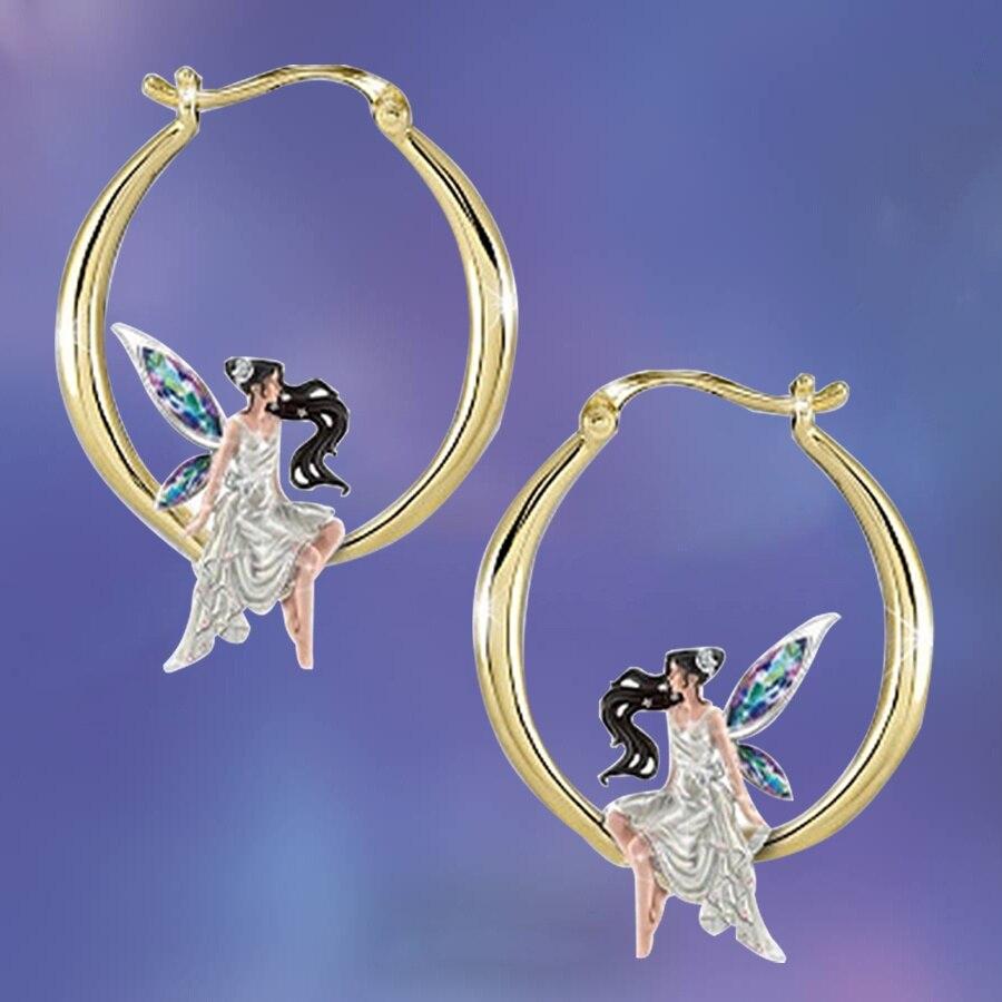 Модные серьги в виде Феи цветов, Подвесные серьги, подарки для влюбленных, обручальные серьги, свадебные кольца, подарки на годовщину, рожде...