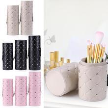 Mode Pu Leer Draagbare Make-Up Borstel Opbergtas Cilinder Vorm Reizen Pen Container Houder Cosmetische Container Make Up Tool