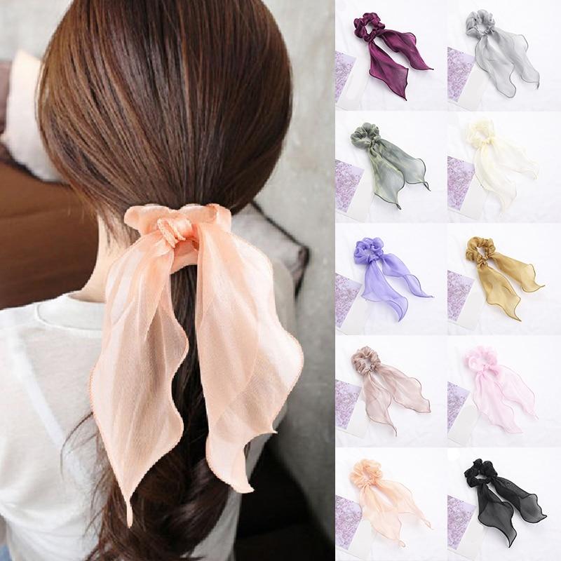 Pure Color Glitter Silk Long Thin Streamers Hair Ring Elastic Bows Scrunchies