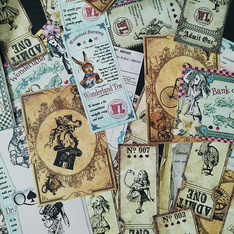 40 unids/bolsa de basura Vintage Alice Bunny tema pegatina paquete DIY álbum de recortes diario feliz Plan decoración gran tamaño pegatina