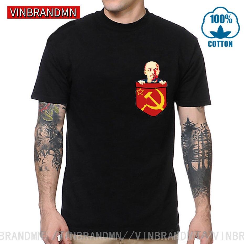 Camiseta de bolsillo del tórax del comunismo de Vladimir Lenin, camiseta de la filosofía política de la Unión Soviética del marxismo Karl Marx Fidel Castro