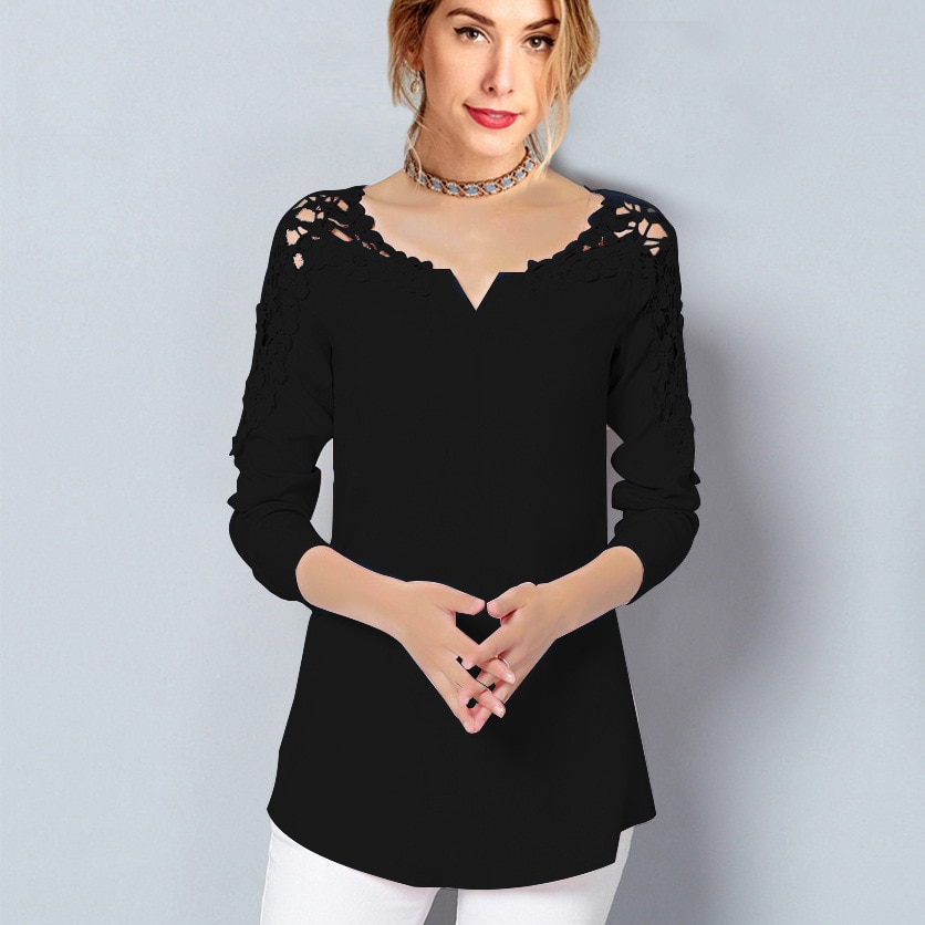 Summer New Style Lace Chiffon Top Ladies Long-sleeved V-neck Casual Shirt Top Elegant Office Ladies Shirt Blouse