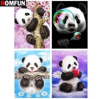 HOMFUN     peinture diamant theme  panda mignon   broderie complete 5d  perles carrees ou rondes  image en strass  a faire soi-meme  decoration de maison