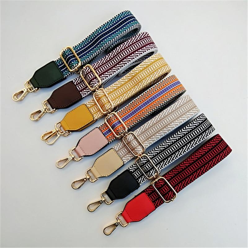 HJKL Nylon Colored Belt Bags Strap Accessories for Women Rainbow Adjustable Shoulder Hanger  good gift  chain bag  straps