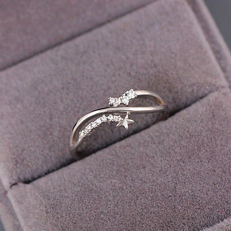 Anillos dobles Fair The Stars para mujer, estilo sencillo, romántico, Color plateado, anillo fino para dedo, propuesta de regalo, joyería de moda KAR343