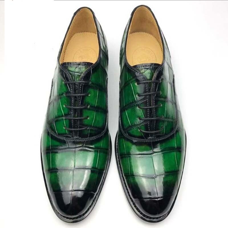 Chue-أحذية جلدية مصنوعة يدويًا للرجال ، أحذية جلد التمساح ، مصنوعة حسب الطلب ، لملابس العمل