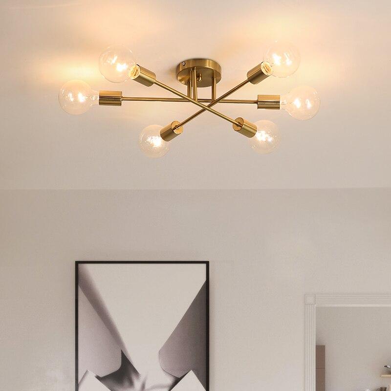 DARHYN-مصباح سقف بتصميم عصري من سبوتنيك ، مصباح سقف ، 6 مصابيح ، تصميم شمالي عتيق ، لون ذهبي
