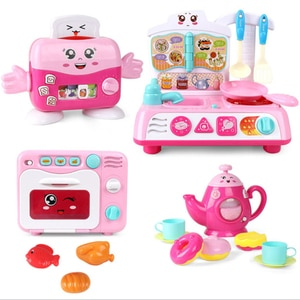 Girls Simulation Kitchen Electrical Set Toy Kids Mini Pretend Play House Toy With Light Music Bread Machine Microwave Toy Gifts