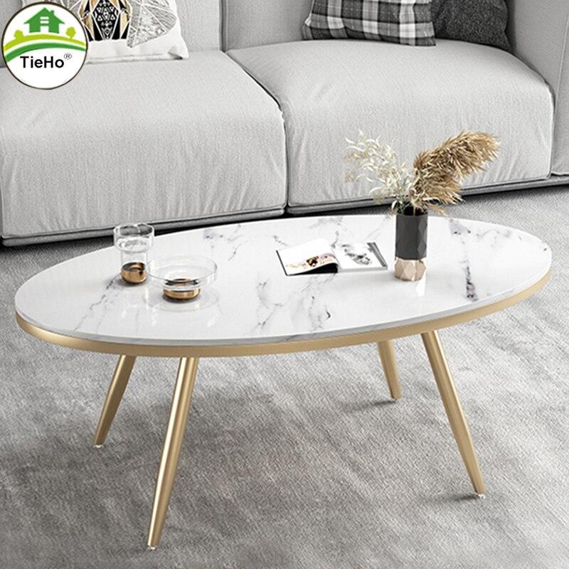 الشمال البيضاوي طاولة قهوة رخام شقة صغيرة غرفة المعيشة الذهبي مركز الجدول TieHo أثاث منزلي حديث أريكة طاولة جانبية