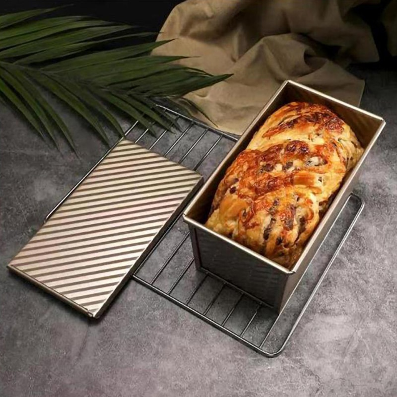 صينية خبز مستطيلة من الفولاذ الكربوني ، غير لاصقة ، غطاء منفاخ ، قالب خبز ، قالب خبز صديق للبيئة ، 18.8 × 11 × 10