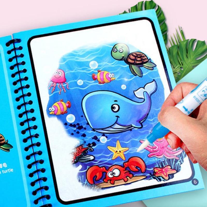 Новые игрушки-головоломки Монтессори, многоразовые книжки-раскраски, волшебная книга для рисования водой, сенсорные Игрушки для раннего ра...