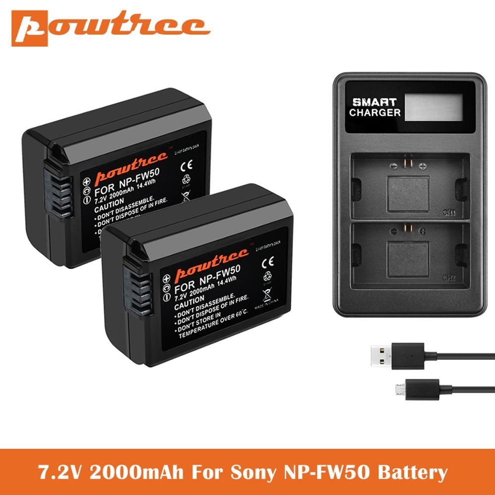 2000mAh NP-FW50 batería + LCD cargador Dual para Sony Alpha a6500 a6300...