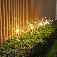 solar powered outdoor grass globe dandelion fireworks lamp 90120150200 led for garden lawn landscape lamp holiday light
