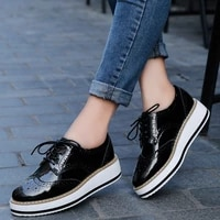 women platform brogue patent leather flats lace up footwear female flat oxford casual shoes