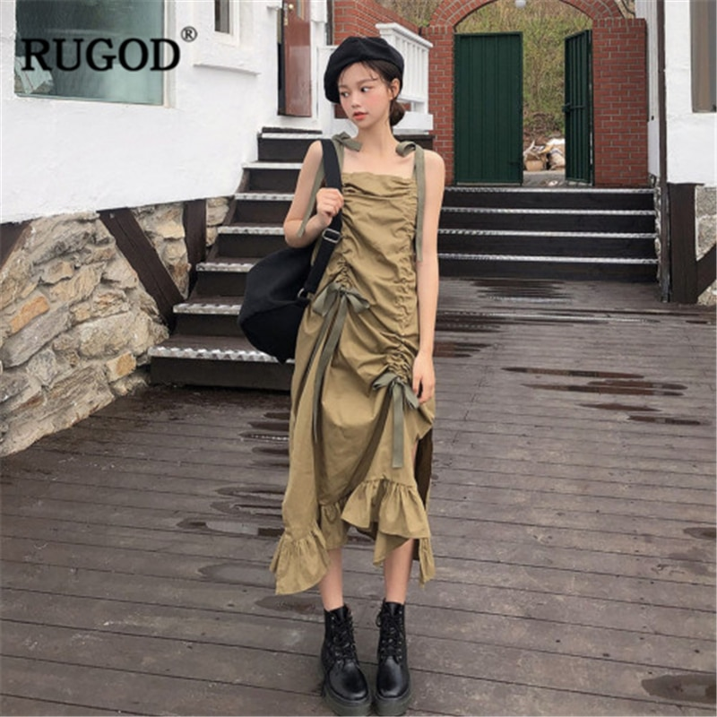 RUGOD 2020 New Arrival Women Green Asymmetrical Dress Spaghetti Strap Drawstring Side Spilt Loose Vestidos Korean Stylish Dress