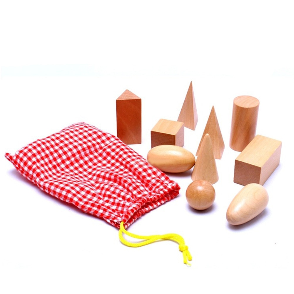 10pcwooden Montessori Mystery Bag Geometry Blocks Set Educational Cognitive Toys Construction Building Preschool Toys For Child