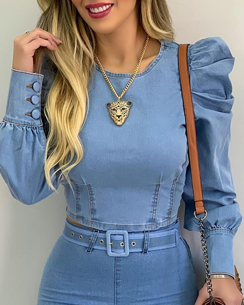 Zoulv 2021 Women Blouse Solid Color O Neck Sexy Fashion Bubble Sleeve Long-Sleeved Casual Denim Slim-fit Short Cropped Shirts