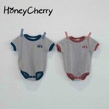 Monos para niña bebé, de algodón, triangular de una pieza, de China, para bebé, Simple, Digital, Creeper + diadema, ropa para bebé