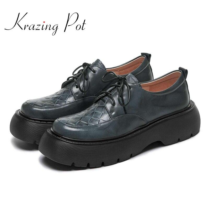 Krasing Pot-حذاء نسائي من الجلد الطبيعي بمقدمة دائرية ، نعل سميك ، ربطة عنق متقاطعة ، على الطراز البريطاني ، مبركن ، L22 ، مجموعة جديدة