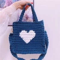 casual woolen knitted women handbag teenager crochet shoulder bag korean fashion vintage large capacity womens handbags tote