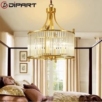modern luxury copper chandelier wrought led chandeliers lighting fixtures led hanging lamp with crystal shade for living room