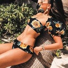 Sexy noir jaune à fleurs manches bouffantes taille haute ceinture Bikini épaules nues 2020 maillot de bain femmes maillots de bain vêtements de plage maillot de bain