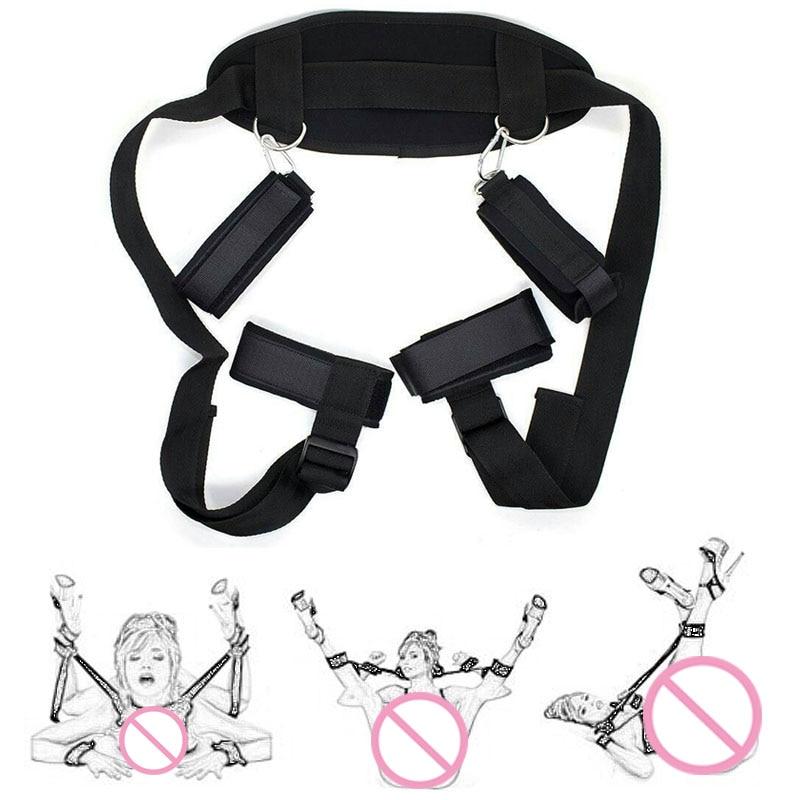 BDSM Bondage Restraints Slave Neck Handcuffs Leg Open Cuff Straps Erotic Sex Toys For Woman Couples Accessories Adult Games