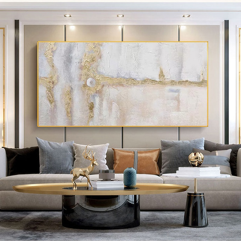 New Design Office Home Wall Decor Canvas Art Hand Painted Abstract Gold Foil Oil Painting Modern Decoration Murale