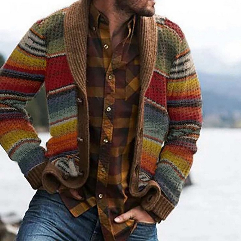 2021 Autumn Winter Men Sweaters Fashion Ethnic Color Block Cardigan Male Long Sleeve Vontage Coat Casual Outwear