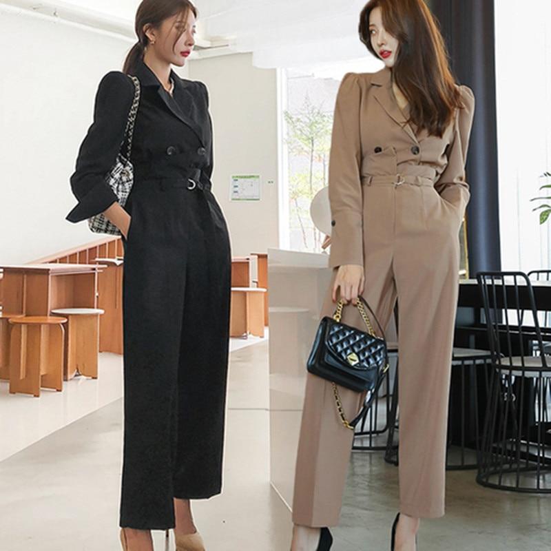 2021 ربيع جديد نمط المرأة 2 قطعة مجموعة الكورية طبعة الموضة مزدوجة الصدر الاحتلال قليلا دعوى معطف السراويل مكتب الدعاوى