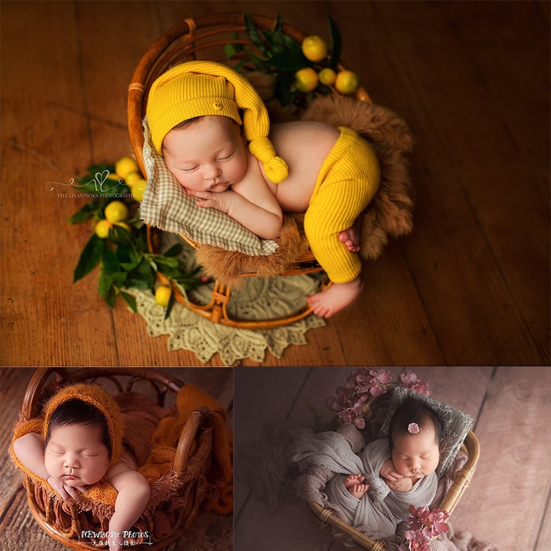 Newborn Photography Props rattan Basket Furnitur Baby Photo Bed Posing Props Infant Bebe Studio Shoot Accessories Full-moon Baby