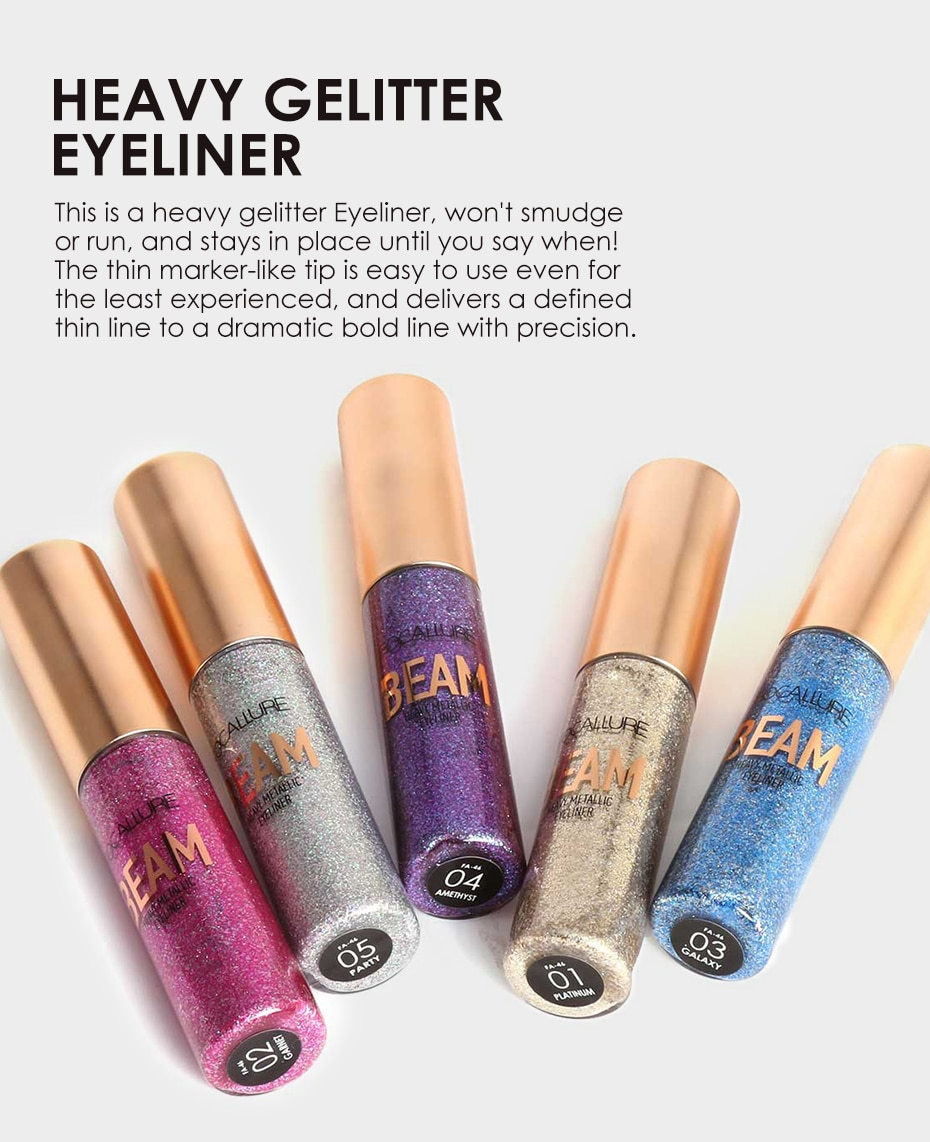 FOCALLURE Glitter Eyeliner Liquid Makeup For Women Colored With Sparkles Professional High Quality Waterproof Eye Cosmetics
