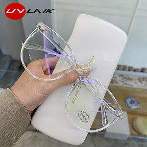 UVLAIK прозрачный компьютерные очки Рамка Для женщин мужчин антибликовыми свойствами светильник круглые очки блокировка очки оптические опр...