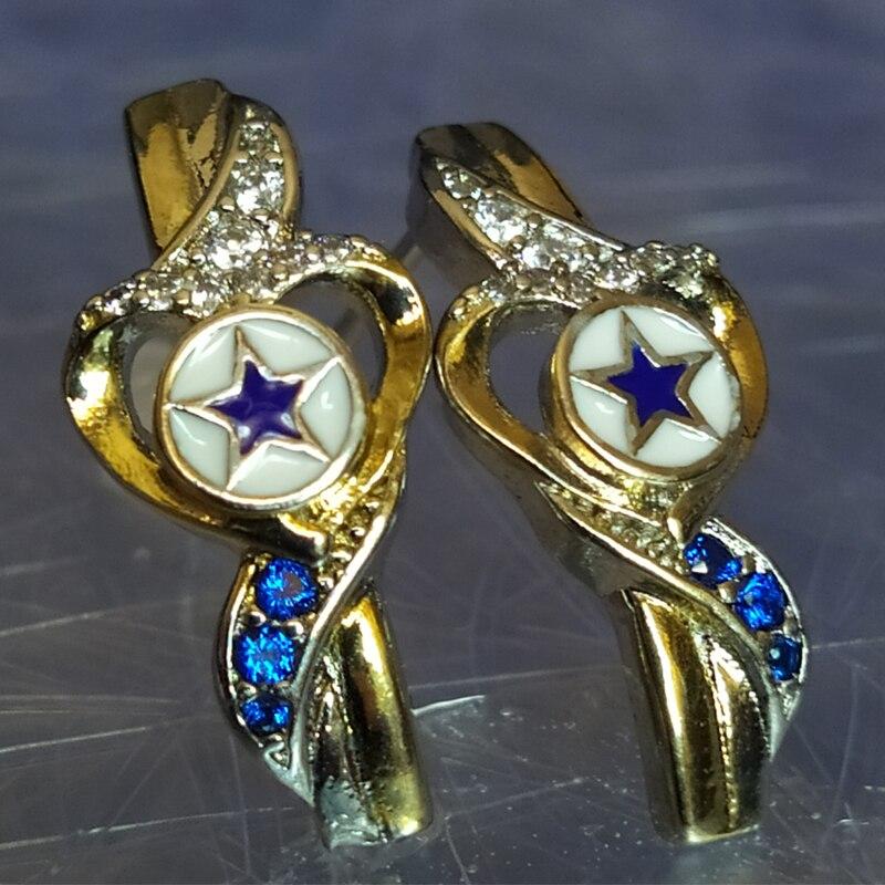 Женские сережки с пятиконечной звездой серебряного цвета золотистого цвета в ковбойском стиле в форме сердца