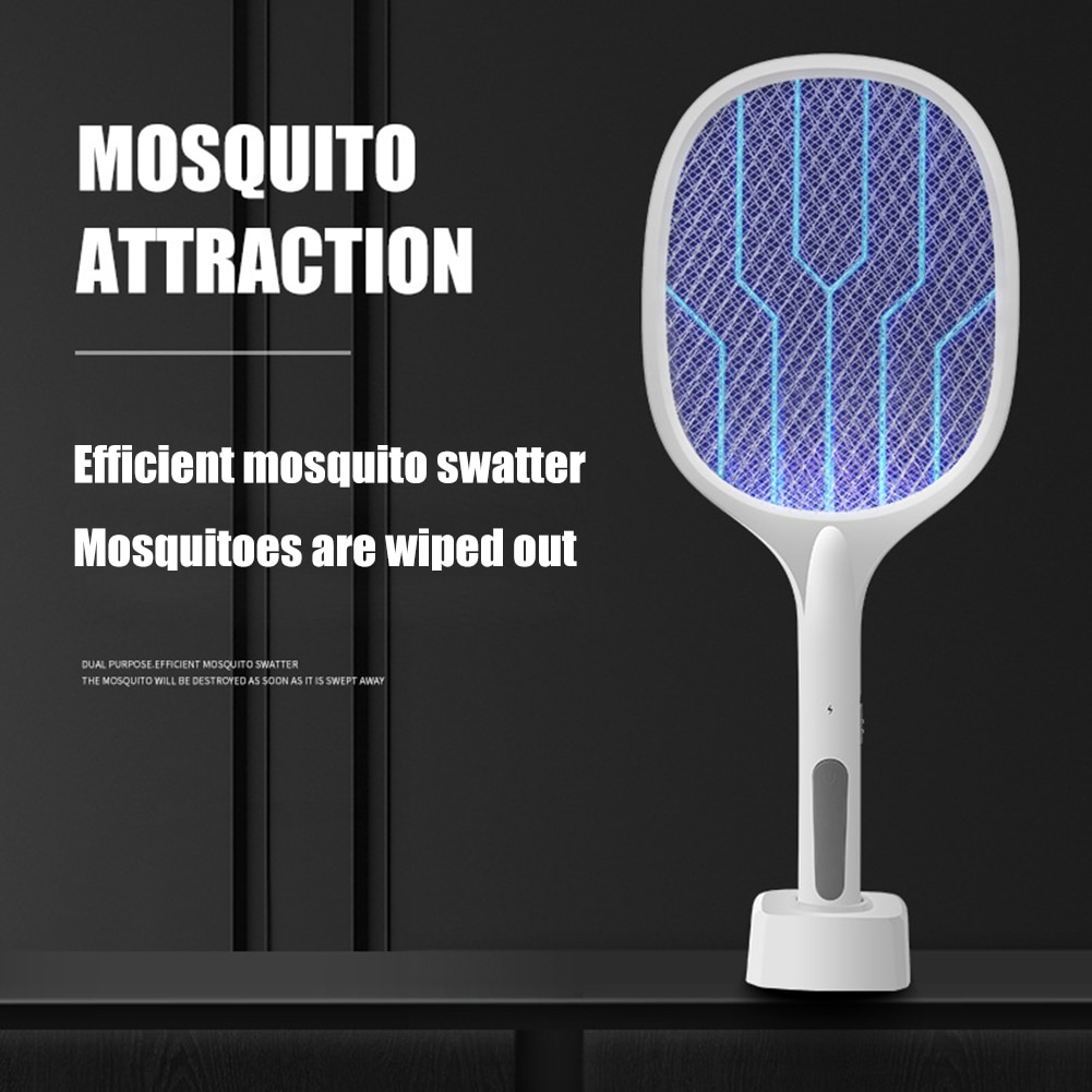 Racket Insects Killer Stun Useful 2 in 1 Electric Mosquito Swatter 2 Modes 2000mAh USB Fly Bug Zapper Racket Kill